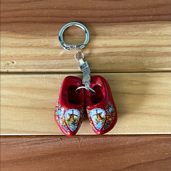 Wooden clogs keychain